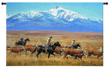 Homeward Bound By Reginald Jones | Woven Tapestry Wall Art Hanging | Cowboys Herding Cattle Golden Open Range Western Landscape Artwork | 100% Cotton USA 34X53 Wall Tapestry