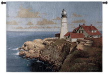 Late Afternoon by Zhen-Huan Lu | Woven Tapestry Wall Art Hanging | Pristine Coastal Lighthouse Rocky Cliff Side Seascape | 100% Cotton USA Size 53x39 Wall Tapestry