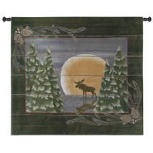 Moonlight Moose | Woven Tapestry Wall Art Hanging | Whimsical Forest Wildlife in Lunar Light Cabin Lodge Decor | 100% Cotton USA Size 53x53 Wall Tapestry