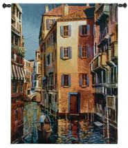 Venetian Light by Michael O'Toole | Woven Tapestry Wall Art Hanging | Romantic Gondolas in Venitian Water Canals |100% Cotton USA Size 53x40 Wall Tapestry