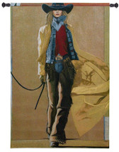 We're Comin' Thru by David Devary | Woven Tapestry Wall Art Hanging | Bold and Rebellious Old West Cowgirl | 100% Cotton USA Size 53x37 Wall Tapestry