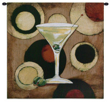 Martini Cocktail - Woven Tapestry Wall Art Hanging For Home Living Room & Office Decor - 1960S Modern Artwork Of A Watercolor Turned Textile - 100% Cotton - USA 36X36 Wall Tapestry