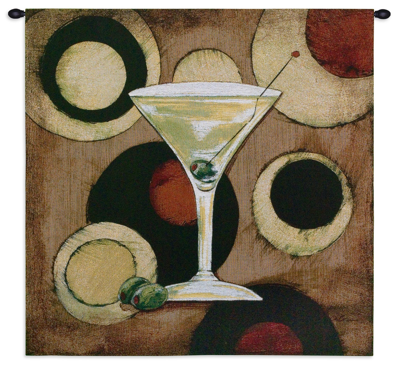 Martini Cocktail Woven Tapestry Wall Art Hanging For Home Living Room Office Decor 1960s Modern Artwork Of A Watercolor Turned Textile 100