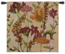 Fine Art Tapestries Garden Blooms Hand Finished European Style Jacquard Woven Wall Tapestry  USA Size 35x35 Wall Tapestry
