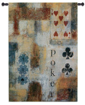 Poker Abstract by Jane Bellows | Woven Tapestry Wall Art Hanging | Abstract Poker Chips and Cards Game Room Artwork | 100% Cotton USA Size 53x36 Wall Tapestry