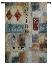 Casino Abstract By Jane Bellows  - Woven Tapestry Wall Art Hanging For Home Living Room & Office Decor - Casino Elements Abstract Card Game Room Swag Artwork - 100% Cotton - USA 53X36 Wall Tapestry