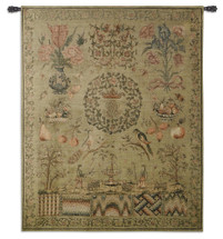 Sampler I | Woven Tapestry Wall Art Hanging | Vintage Sewing and Needlepoint Patterns Historic Reproduction | 100% Cotton USA Size 53x44 Wall Tapestry