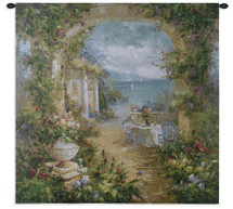 Fine Art Tapestries Mediterranean Arches II Hand Finished European Style Jacquard Woven Wall Tapestry  USA Size 35x35 Wall Tapestry