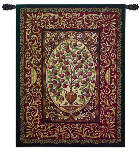 Abundance by Helen Vladykina - Woven Tapestry Wall Art Hanging for Home & Office Decor - Plant Ripe Red Fruit Decorative Urn Vase Intricate Botanical Ornate Bordered -100% Cotton-USA 53X40 Wall Tapestry