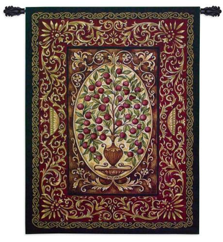 Abundance by Helen Vladykina | Woven Tapestry Wall Art Hanging | Ripe Red Fruit Ornate Pattern | 100% Cotton USA Size 53x40 Wall Tapestry