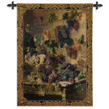 Harvest In Tuscany By Oreste Costa - Woven Tapestry Wall Art Hanging - Grape Harvest Still Life In Tuscan Villa - 100% Cotton - USA 53X39 Wall Tapestry