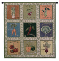 Fine Art Tapestries Vintage Veggies Tapestry Hand Finished European Style Jacquard Woven Wall Tapestry  USA Size 35x35 Wall Tapestry