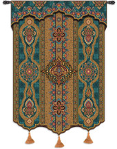 Prema Azure - Woven Tapestry Wall Art Hanging For Home Living Room & Office Decor - Gorgeous Ornamental Motifs And Patterns Beautiful Eastern Artwork With Warm Color Tones  - 100% Cotton - USA 62X52 Wall Tapestry