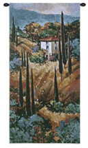 Tuscany Blue | Woven Tapestry Wall Art Hanging | Italian Villa Countryside Painting | 100% Cotton USA Size 53x26 Wall Tapestry