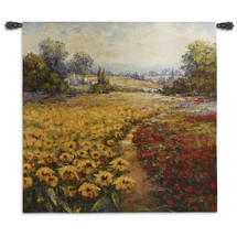 Tuscan Pleasures I | Woven Tapestry Wall Art Hanging | Vibrant Sunflowers and Red Poppies | 100% Cotton USA Size 53x53 Wall Tapestry