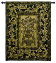 Framed Peacocks by Helen Vladykina | Woven Tapestry Wall Art Hanging | Two Jeweled Peacocks on Ornate Gold Filigree Pattern | 100% Cotton USA Size 53x40 Wall Tapestry
