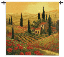 Poppies of Toscano | Woven Tapestry Wall Art Hanging | Golden Italian Sunset over Vineyard Hillsides | 100% Cotton USA Size 53x53 Wall Tapestry