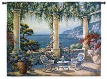 Mediterranean Terrace by Vivian Flasch | Woven Tapestry Wall Art Hanging | Italian Villa Seaside | 100% Cotton USA Size 53x40 Wall Tapestry