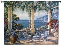 Mediterranean Terrace by Vivian Flasch | Woven Tapestry Wall Art Hanging | Italian Villa Seaside | 100% Cotton USA Size 53x40 Wall Tapestry