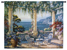 Mediterranean Terrace By Vivian Flasch - Woven Tapestry Wall Art Hanging - Italian Villa Seaside With A Colorful Potted Floral Coastal Theme - 100% Cotton - USA 53X40 Wall Tapestry