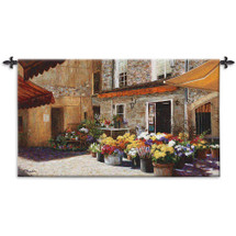 Flower Shop by Jan McLaughlin   Woven Tapestry Wall Art Hanging   Realist European Cobblestone Street Storefront   100% Cotton USA Size 53x34 Wall Tapestry