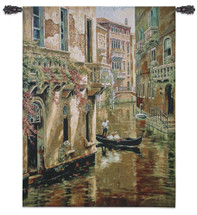 Afternoon Chat By Sung Kim - Woven Tapestry Wall Art Hanging - A Colorful Romantic Venetian Gondola Ride - 100% Cotton - USA 48X36 Wall Tapestry