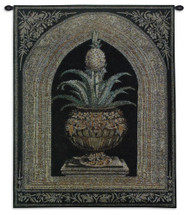 Pineapple Urn by Walter Robertson | Woven Tapestry Wall Art Hanging | Decorative Pineapple Plant on Ornate Pedestal | 100% Cotton USA Size 34x26 Wall Tapestry