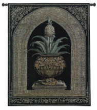 Pineapple Urn by Walter Robertson | Woven Tapestry Wall Art Hanging | Decorative Pineapple Plant on Ornate Pedestal | 100% Cotton USA Size 74x53 Wall Tapestry