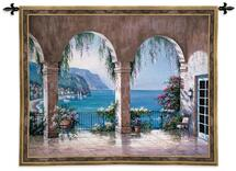 Mediterranean Arch | Woven Tapestry Wall Art Hanging | Floral Seaside Ocean View | 100% Cotton USA Size 53x42 Wall Tapestry