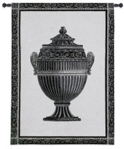 Empire Urn I Noir | Woven Tapestry Wall Art Hanging | Elegant Patterned Vase Still Life in Black and White | 100% Cotton USA Size 34x27 Wall Tapestry