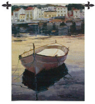 Barca al Contraluz by Poch Romeu | Woven Tapestry Wall Art Hanging | Fishing Boat Moored in Spanish Village Seaside | 100% Cotton USA Size 53x41 Wall Tapestry