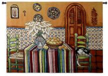 La Siesta | Woven Tapestry Wall Art Hanging | Latin Colorful Dining Room with Sleeping Cat | 100% Cotton USA Size 53x40 Wall Tapestry