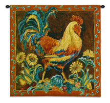 Rooster Rustic | Woven Tapestry Wall Art Hanging | Vibrant Country Farm Chicken | 100% Cotton USA Size 35x35 Wall Tapestry