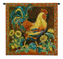 Rooster Rustic Is A Vibrant Country Farm Chicken With Crimson Border - Woven Tapestry Wall Art Hanging For Home Living Room & Office Decor - 100% Cotton - USA 35X35 Wall Tapestry