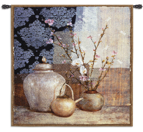 Asian Still by Elise Remender - Woven Tapestry Wall Art Hanging for Home & Office Decor - Still Life Blooming Pink Apple Blossom Flowers With Damask and Asian Pattern Motifs - 100% Cotton - USA Wall Tapestry
