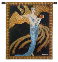 Sortileges by George Barbier | Woven Tapestry Wall Art Hanging | Art Deco Golden Phoenix and Woman Classic French Illustration | 100% Cotton USA Size 53x43 Wall Tapestry