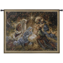 We Three Kings By Stewart Sherwood - Woven Tapestry Wall Art Hanging For Home Living Room & Office Decor - Nativity Christian Religious Nativity Jesus Mary Stable Three Wise Men - 100% Cotton - USA 42X53 Wall Tapestry