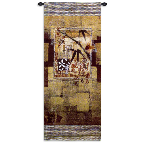 Bamboo Inspirations I   Woven Tapestry Wall Art Hanging   East Asian Contemporary Floral Caligraphy Vertical Geometric Pattern   100% Cotton USA Size 52x23 Wall Tapestry