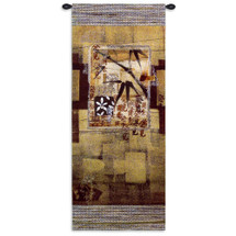 Bamboo Inspirations I | Woven Tapestry Wall Art Hanging | East Asian Contemporary Floral Caligraphy Vertical Geometric Pattern | 100% Cotton USA Size 52x23 Wall Tapestry