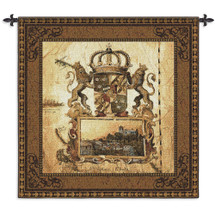Terra Nova I | Woven Tapestry Wall Art Hanging | Old World Crest with Lions and Crown | 100% Cotton USA Size 53x53 Wall Tapestry