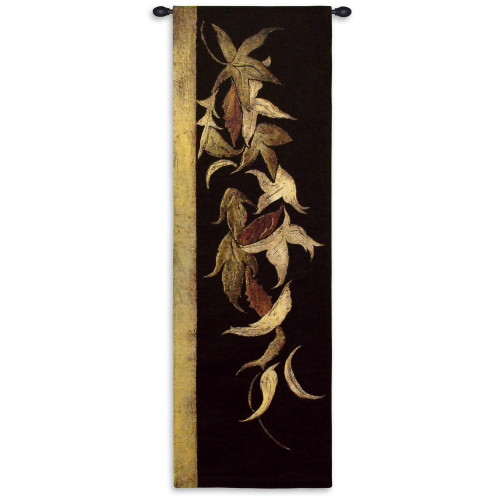 Black Shinwa Ii By Jennifer Perlmutter - Woven Tapestry Wall Art Hanging For Home Living Room & Office Decor-Floral Mixed Media Asian Style Verticals Warm Color Artwork-100% Cotton-USA 53X18 Wall Tapestry