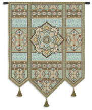 Masala Mint By Acorn Studios - Woven Tapestry Wall Art Hanging For Home Living Room & Office Decor - Eastern India Inspired Motif In Shades Of Soft Mint Green Pale Blue And Turquoise - 100% Cotton - USA 67X53 Wall Tapestry