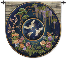 Cloisonne Lapis | Woven Tapestry Wall Art Hanging | Eastern Inspired Asian Crane Wildlife Botanical Artwork | 100% Cotton USA Size 52x51 Wall Tapestry