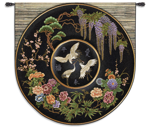 Cloisonne Jet - Woven Tapestry Wall Art Hanging For Home Living Room & Office Decor - Eastern Inspired Asian Crane Wildlife Botanical Artwork - 100% Cotton - USA Wall Tapestry