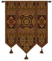 Masala Anise - Woven Tapestry Wall Art Hanging For Home Living Room & Office Decor - Eastern Pattern Motif Tiled Indian Ornamental Artwork - 100% Cotton - USA 67X53 Wall Tapestry