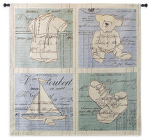 Fine Art Tapestries Vintage Baby Blue Hand Finished European Style Jacquard Woven Wall Tapestry  USA Size 53x53 Wall Tapestry