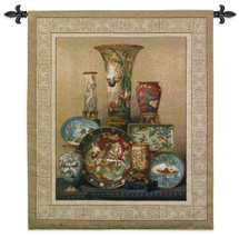 Elkington's Cloisonne | Woven Tapestry Wall Art Hanging | East Asian Themed Fine Cloisonne Dish Ensemble | 100% Cotton USA Size 38x35 Wall Tapestry