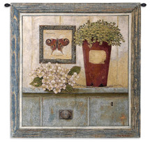 Garden Cabinet | Woven Tapestry Wall Art Hanging | Rustic Realistic Wooden Framed Garden Cabinet | 100% Cotton USA Size 36x34 Wall Tapestry