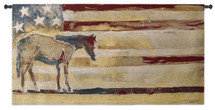 Horse Red White Blue Wh By Swearing - Woven Tapestry Wall Art Hanging For Home Living Room & Office Decor - Patriotic Colored Horse Silhouette Rustic American Flag Southwest Tribute - 100% Cotton - USA 27X53 Wall Tapestry