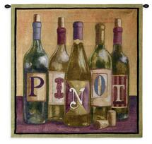 Pinot by Geoff Allen | Woven Tapestry Wall Art Hanging | Charming Wine Label Design | 100% Cotton USA Size 36x35 Wall Tapestry